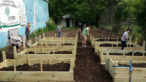 Volunteers in Binghamton, NY working in raised garden beds for a community garden