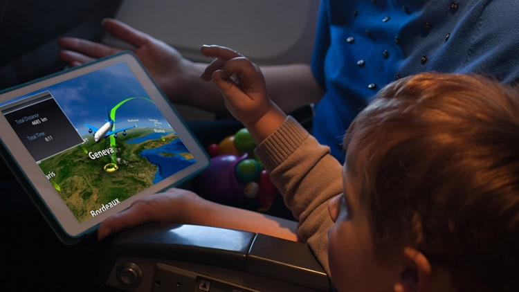 Connected iPad during flight