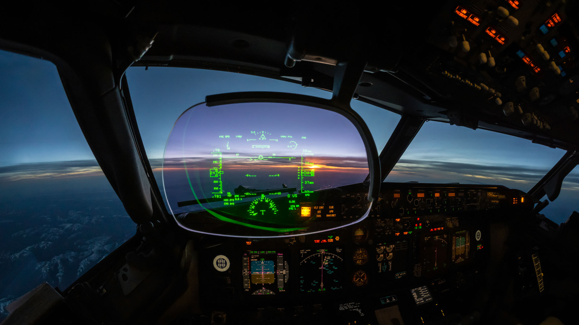 Heads-up display in the flight deck of an aircraft.