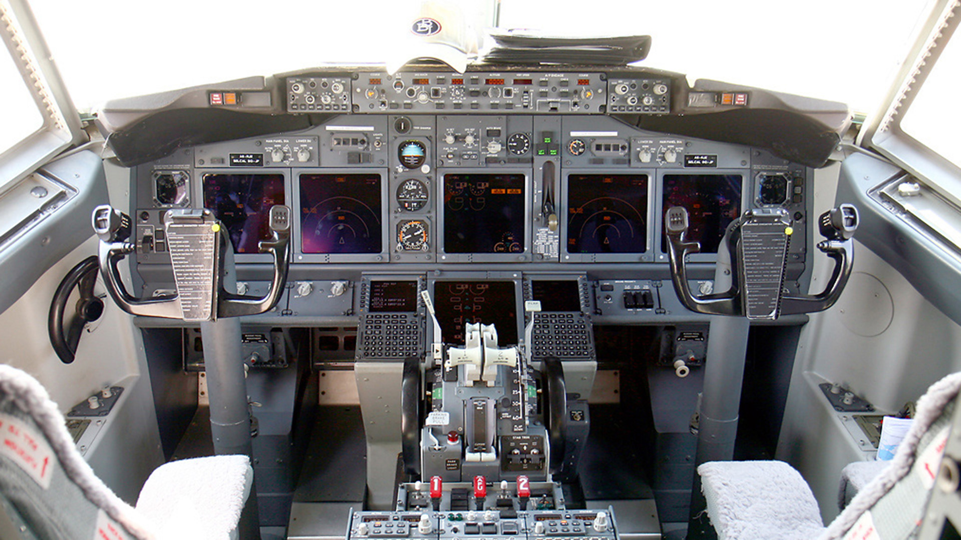 A cockpit with avionics systems