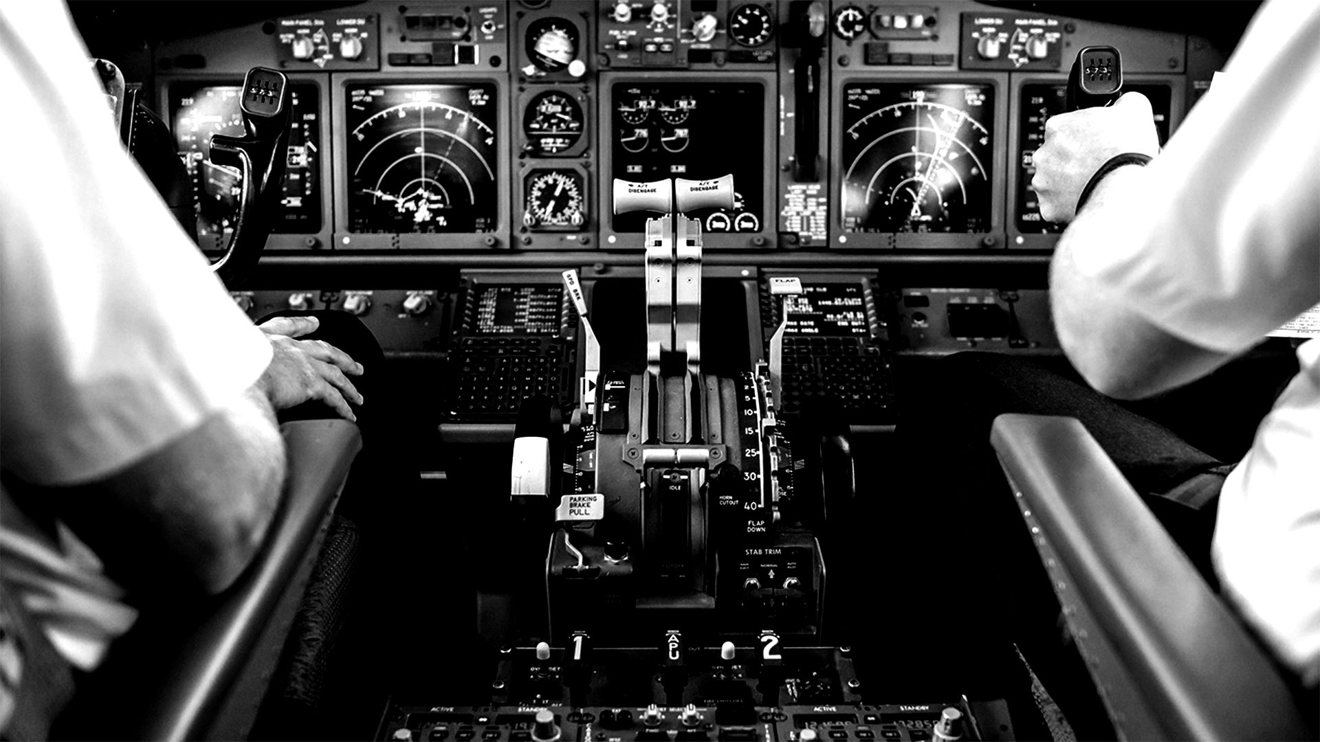 Pilots in a commercial aircraft