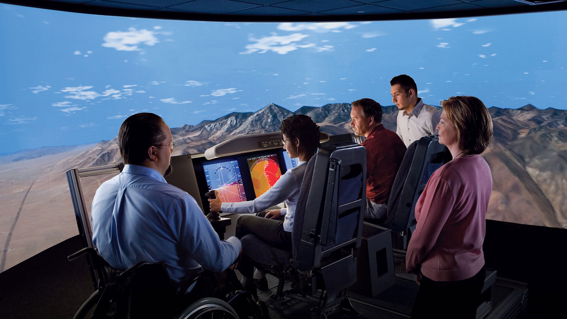 Diverse group of employees in Flight Deck lab