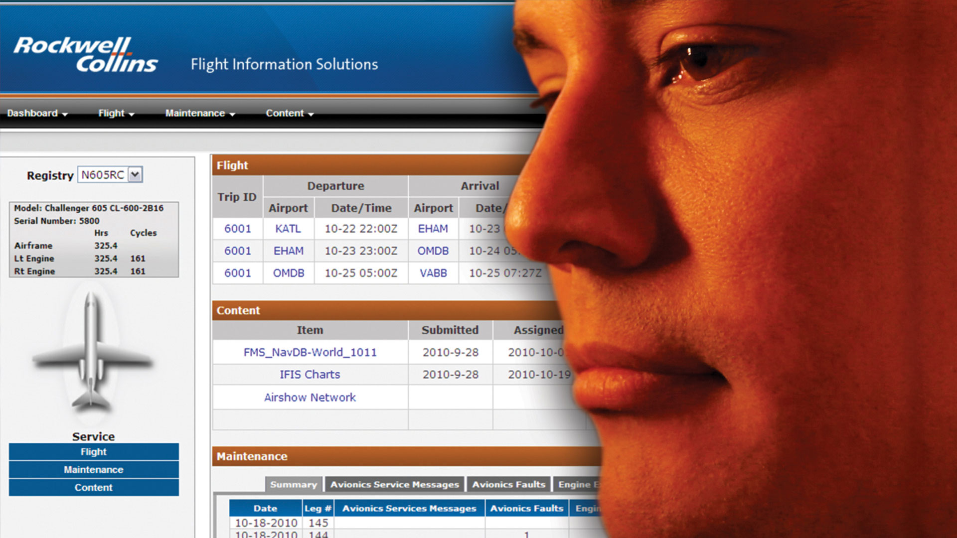Face with Aircraft Information Manager in background