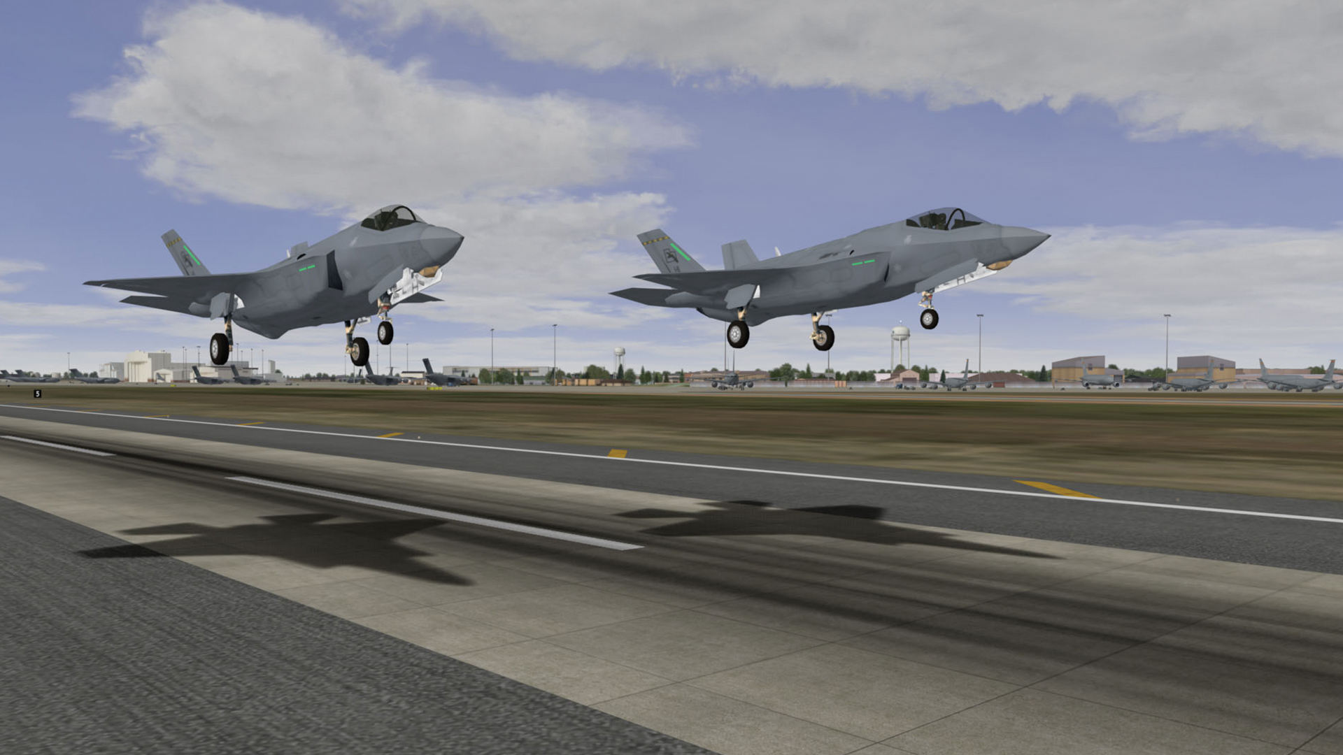 Two jets taking off