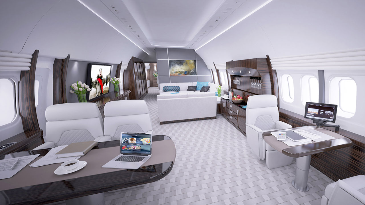 Business jet cabin lounge