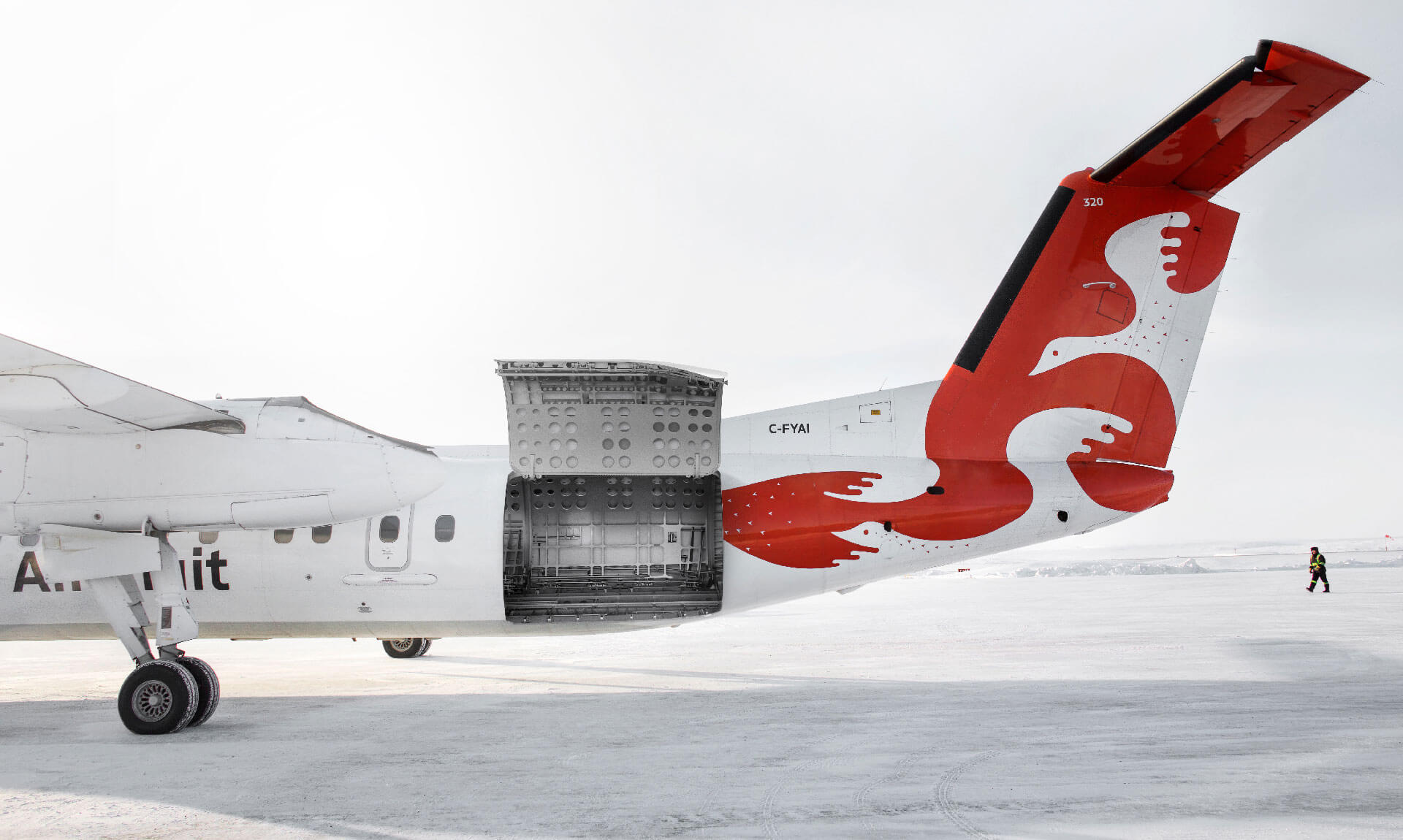 Dash 8 freighter with cargo door open