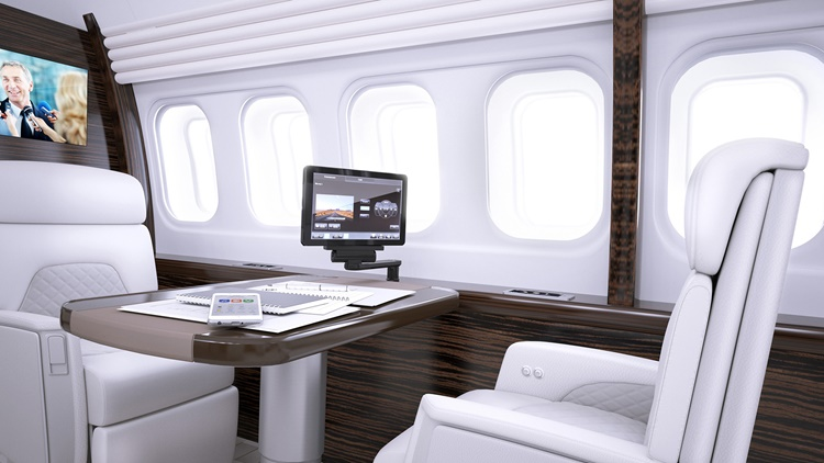 Venue cabin management inside business jet