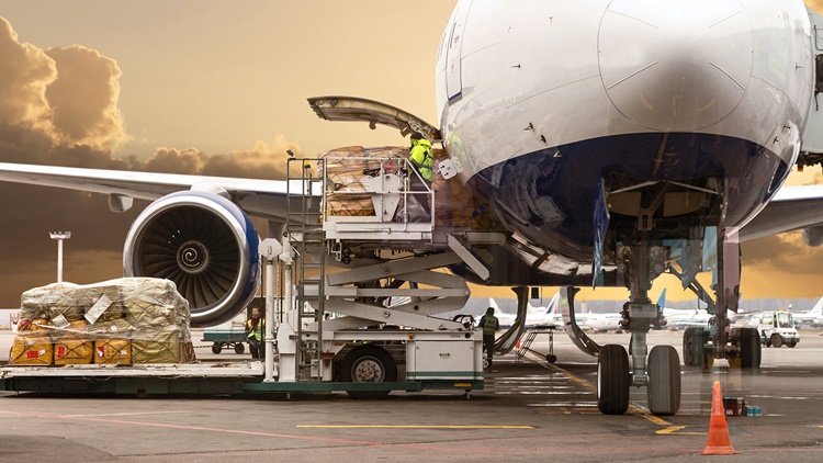 Loading a cargo plane at the airport