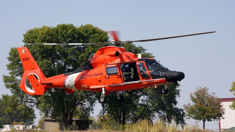 U.S. Coast Guard helicopter landing at Rockwell Collins