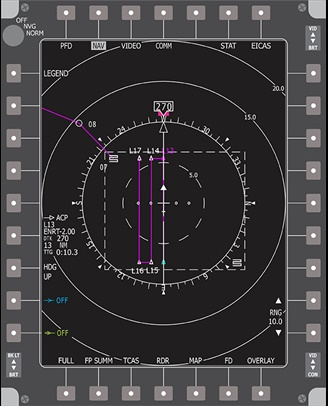 Example search and rescue pattern on avionics display