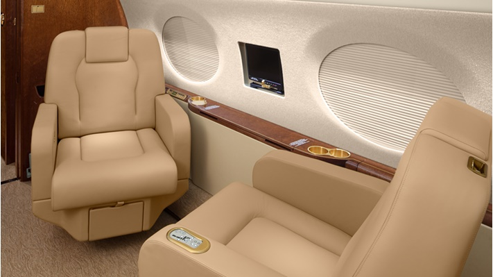 A business jet interior shown with 3X Nano lighting