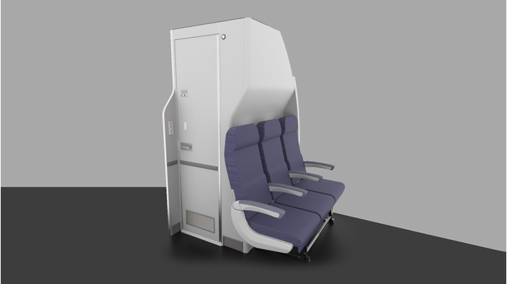 Mid-cabin Spacewall™ lavatory exterior