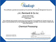 J.A. Reinhardt Chemical Processing Certificate 4296181403