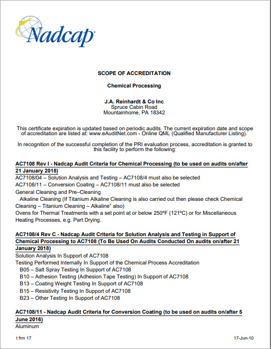 J.A. Reinhardt Chemical Processing Scope of Accreditation