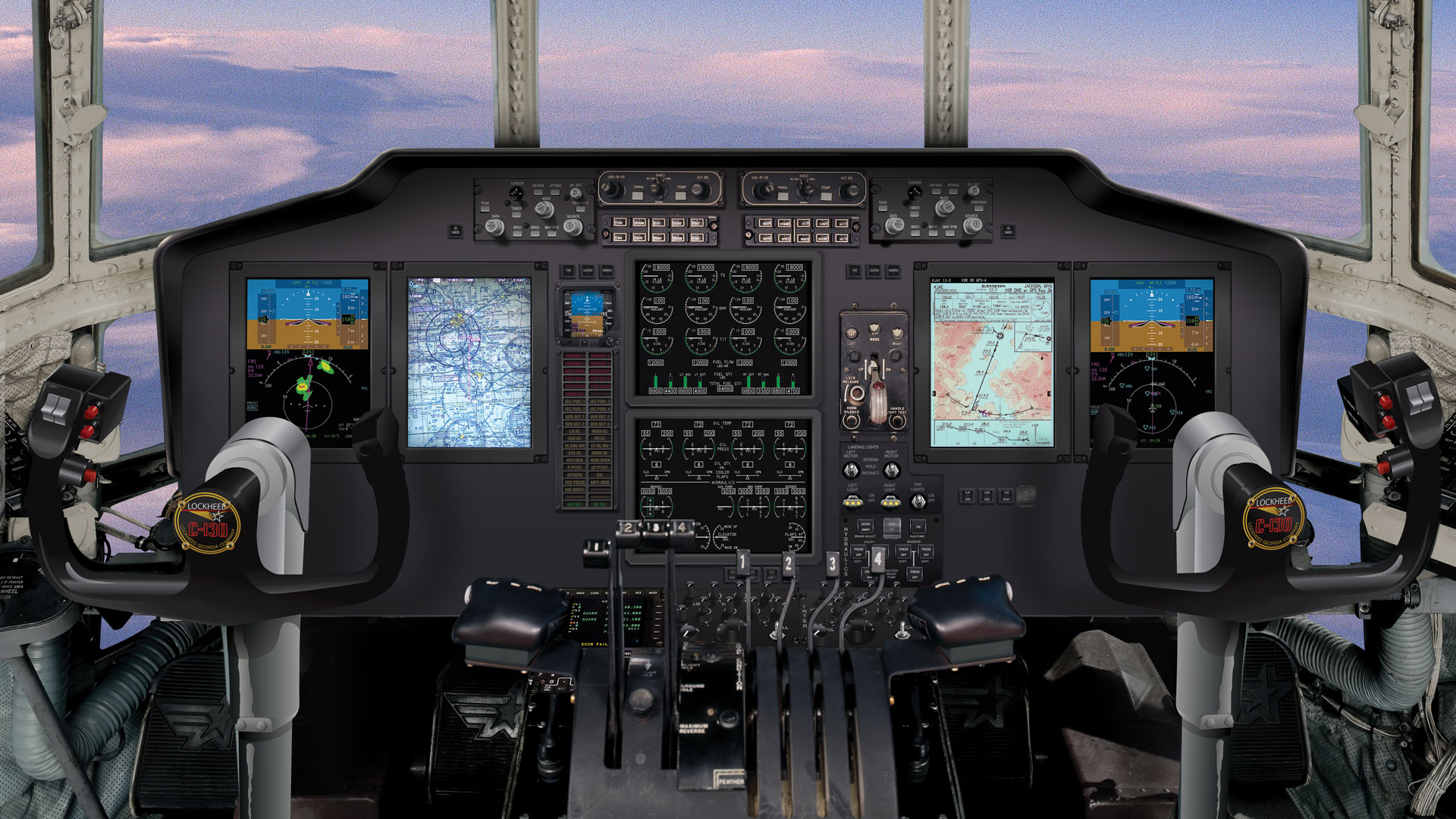 HC130H Cockpit with Flight2