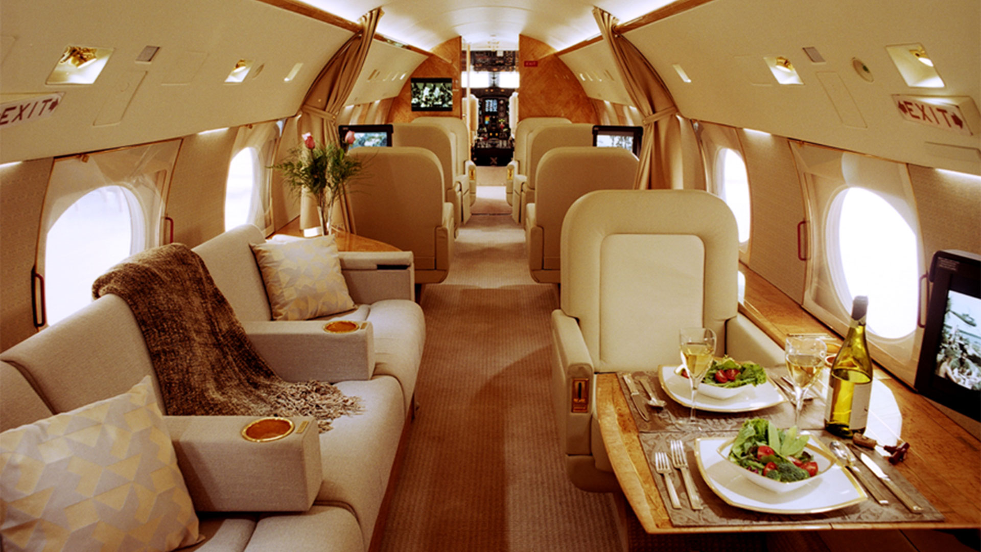 Cabin interior of a business jet