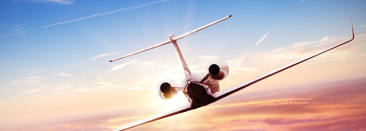 Business jet in the air