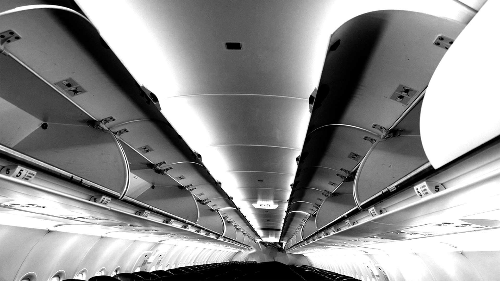 Interior of a commercial aircraft