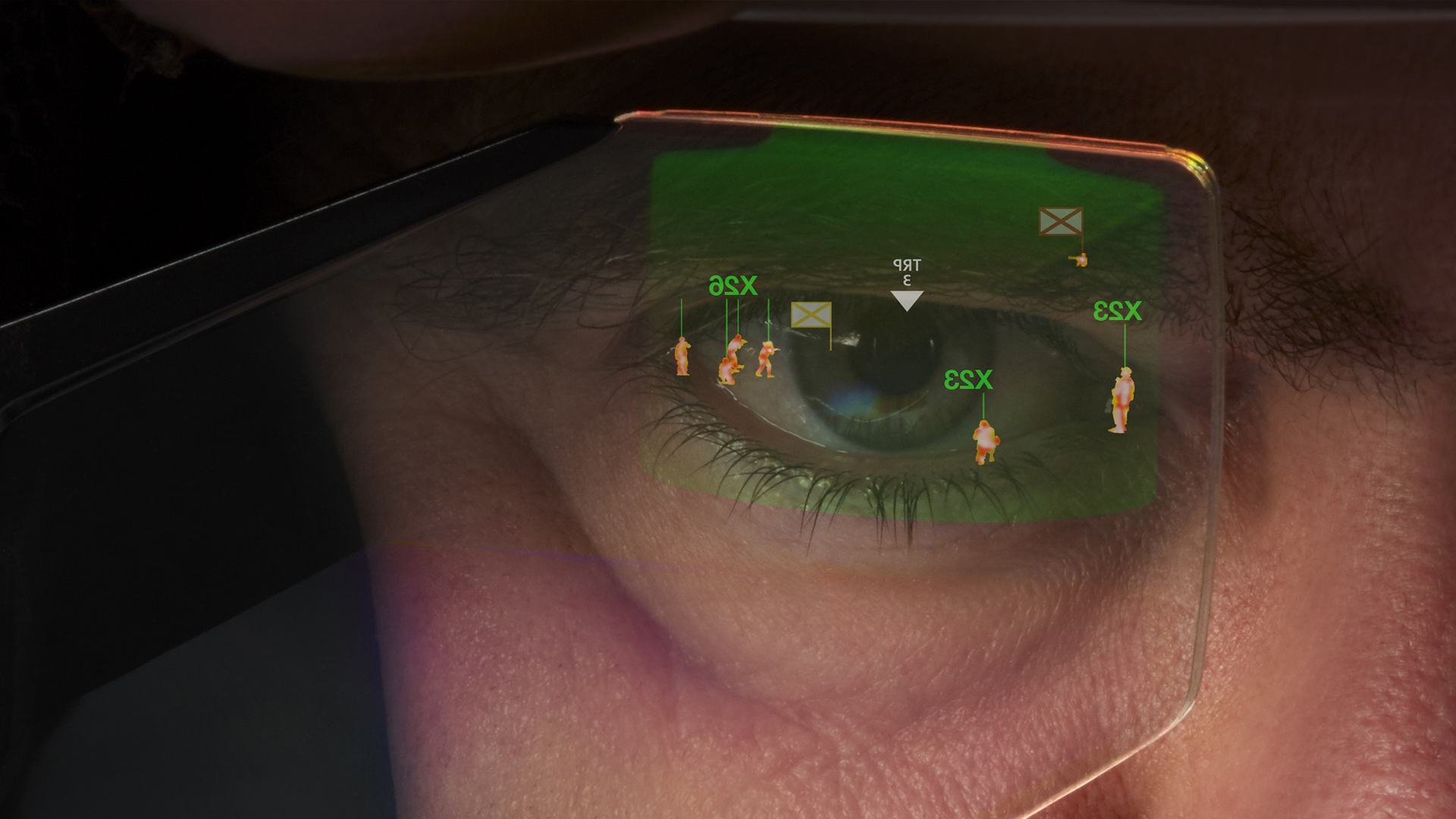 Close up of a man's eye wearing the Enhanced Reality Vision system