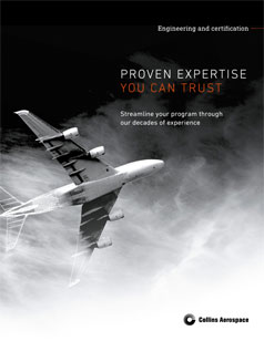 Engineering and certification brochure cover featuring a commercial aircraft