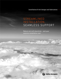 Installation kits brochure cover - the shadow of an aircraft is seen on top of clouds