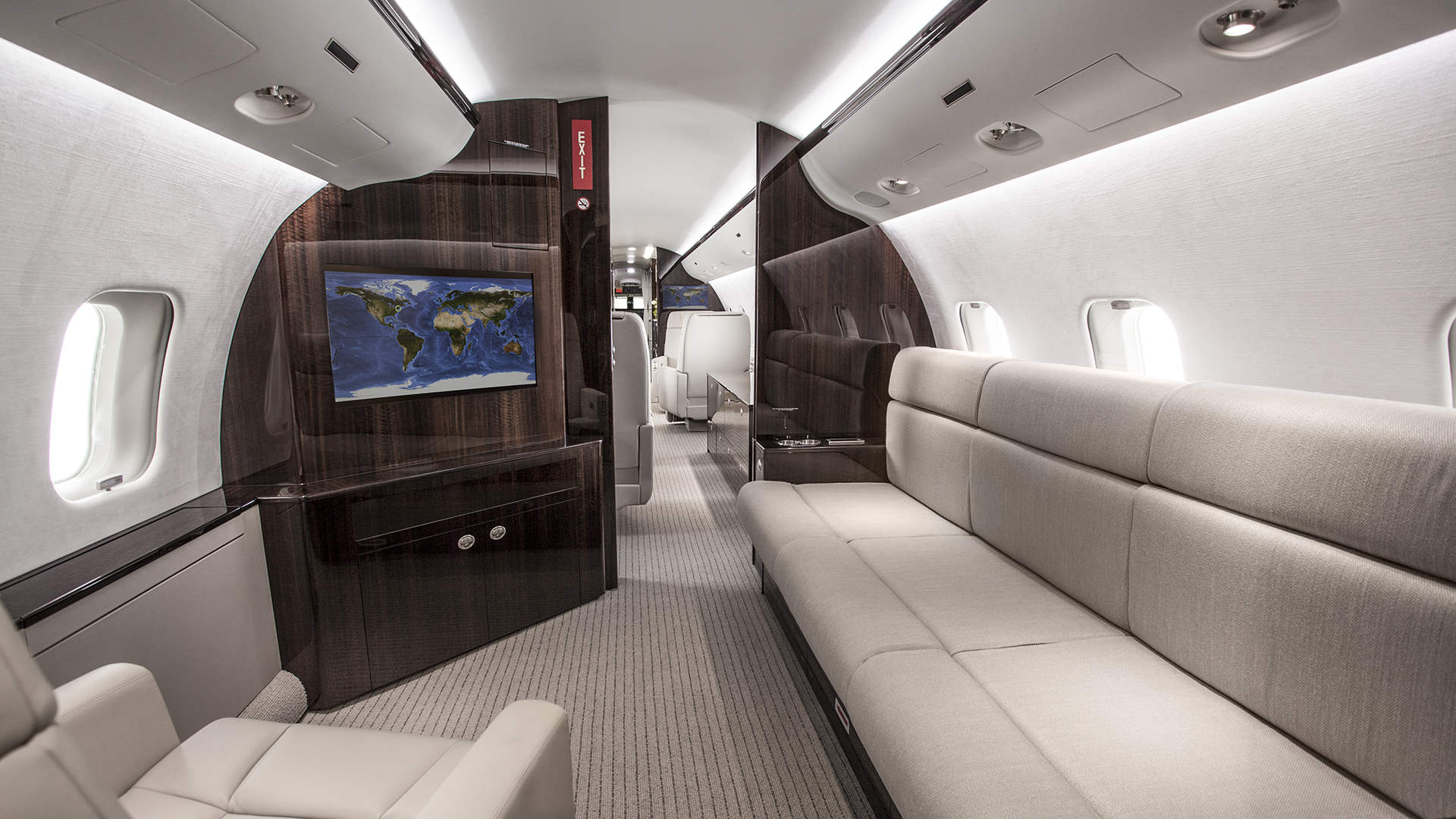 A business jet interior
