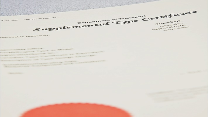 A supplemental type certificate (STC)