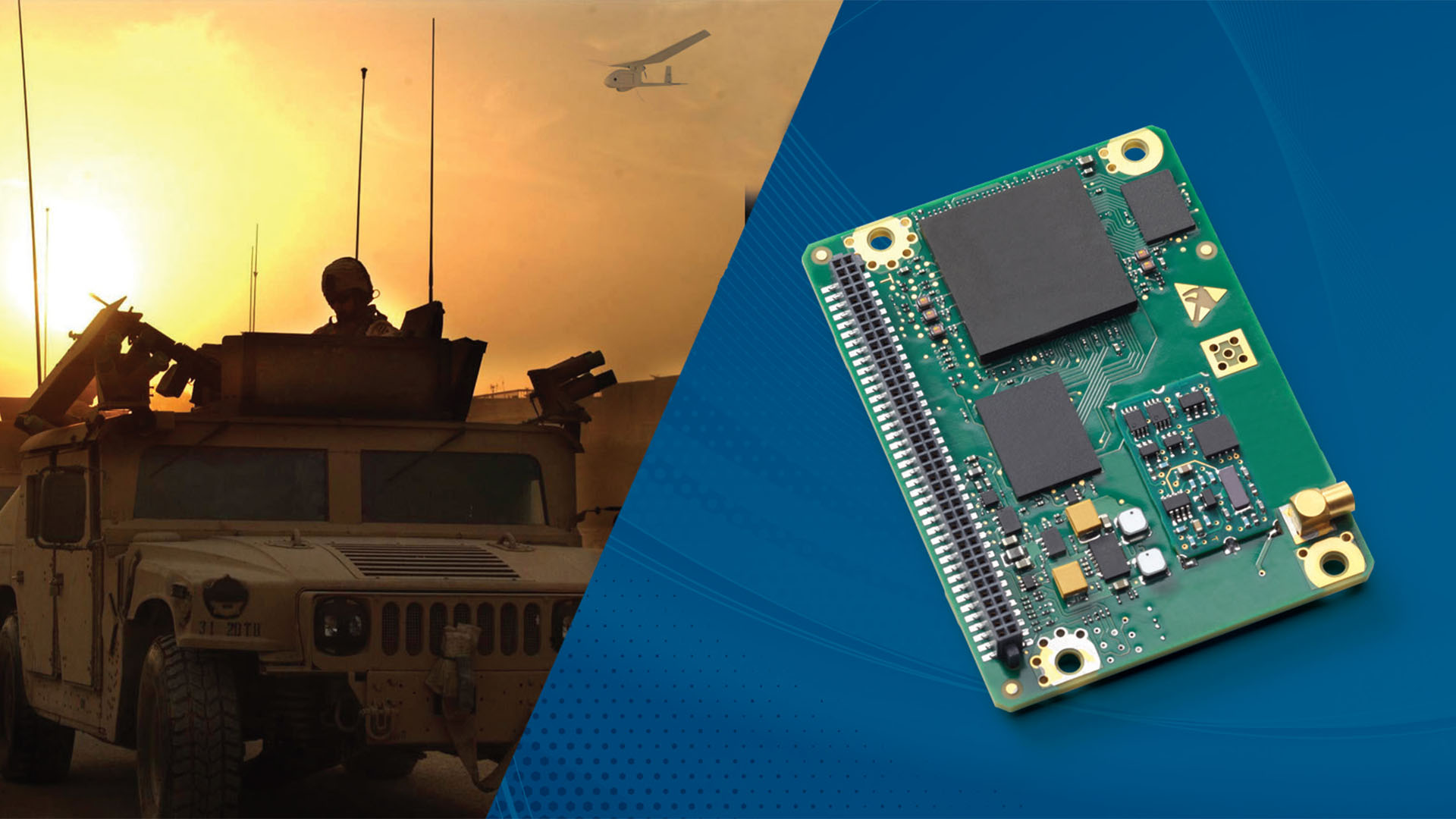 Split image of MPE-S board and army truck with the sunset behind it.