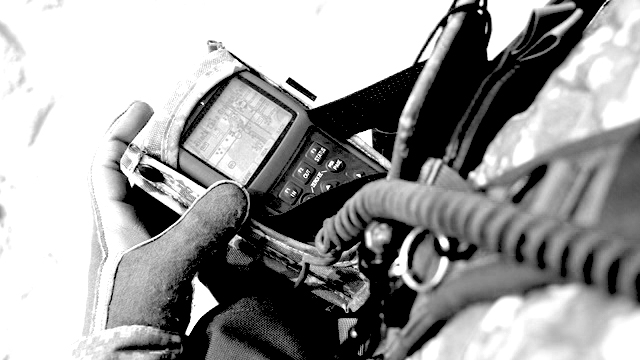 Black and white handheld radio
