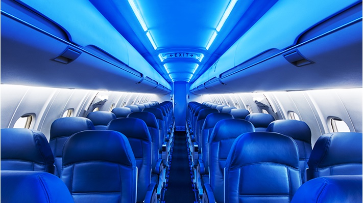 Tapestry lighting system used aboard a Delta Airlines plane
