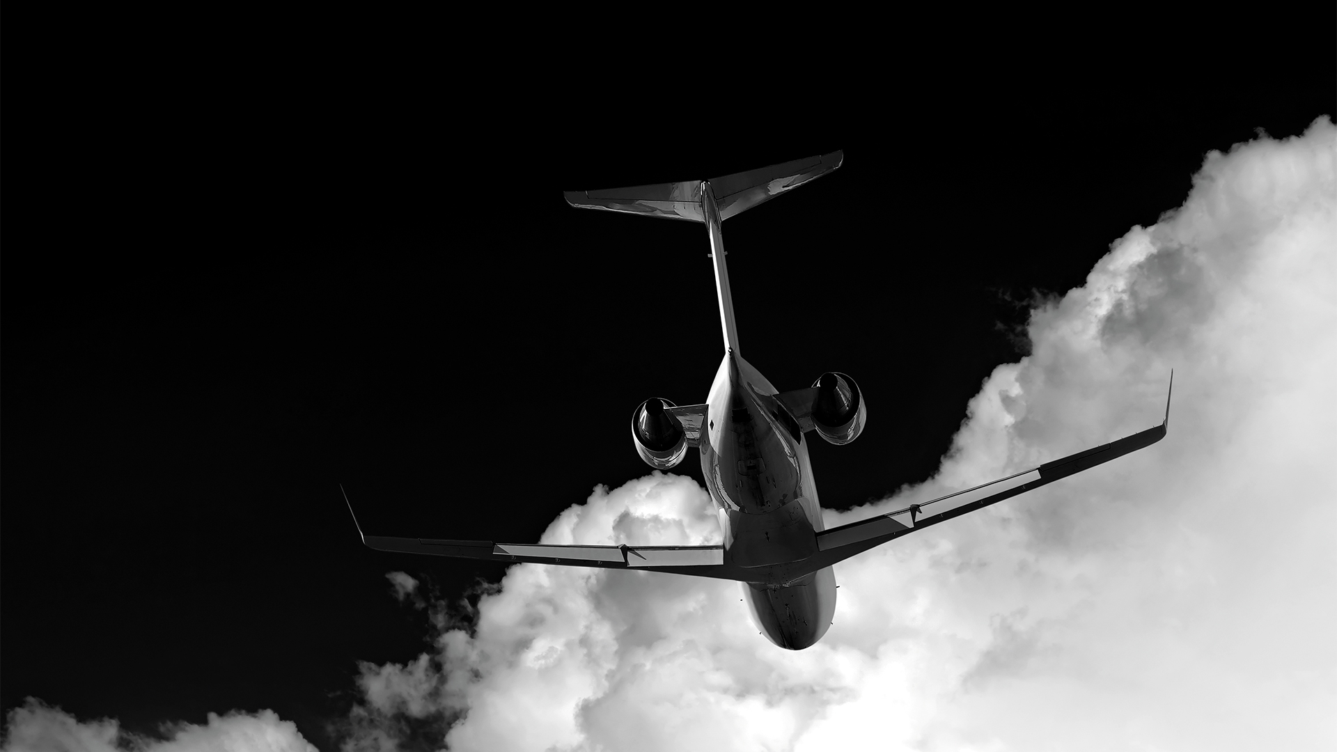 Business jet in flight