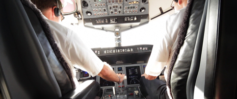 Pilots in flight deck