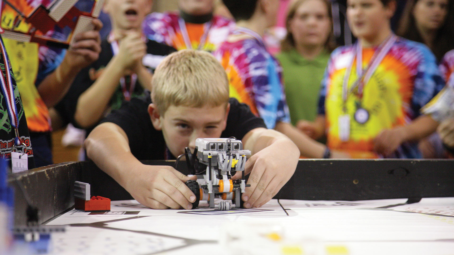 Boy at robotics competition