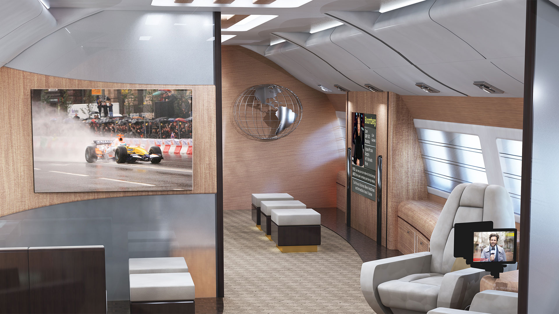 Business Jet Cabin with Tailwind on devices. Racecar on television and weatherman on tablet
