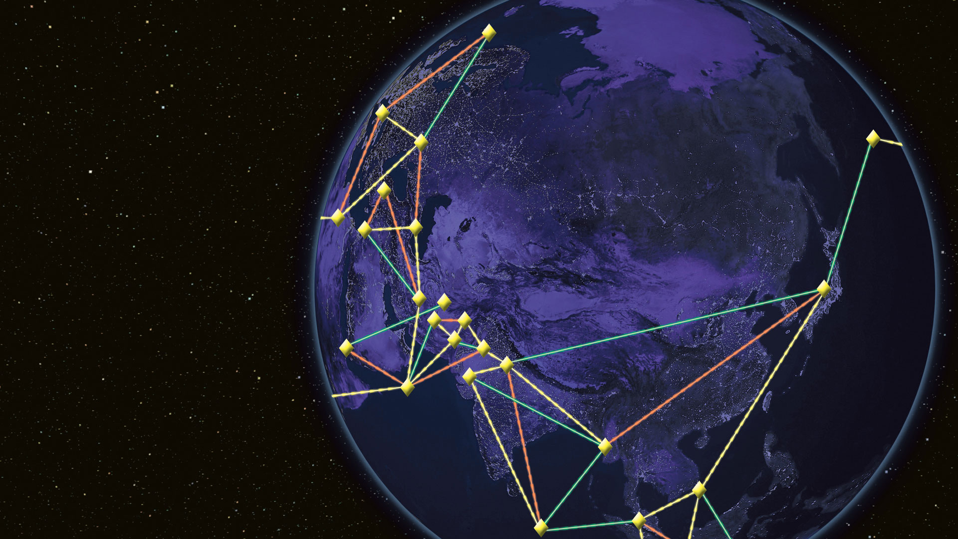 Earth in purple with lines showing communication networks